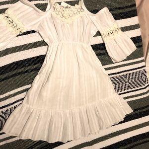 Girls boho dress, beach White natural cotton